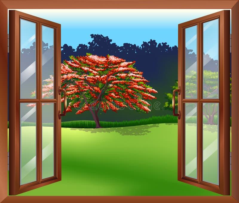 Uma janela aberta com uma vista da árvore grande ilustração stock