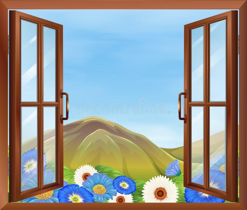 Uma janela com flores fora ilustração do vetor