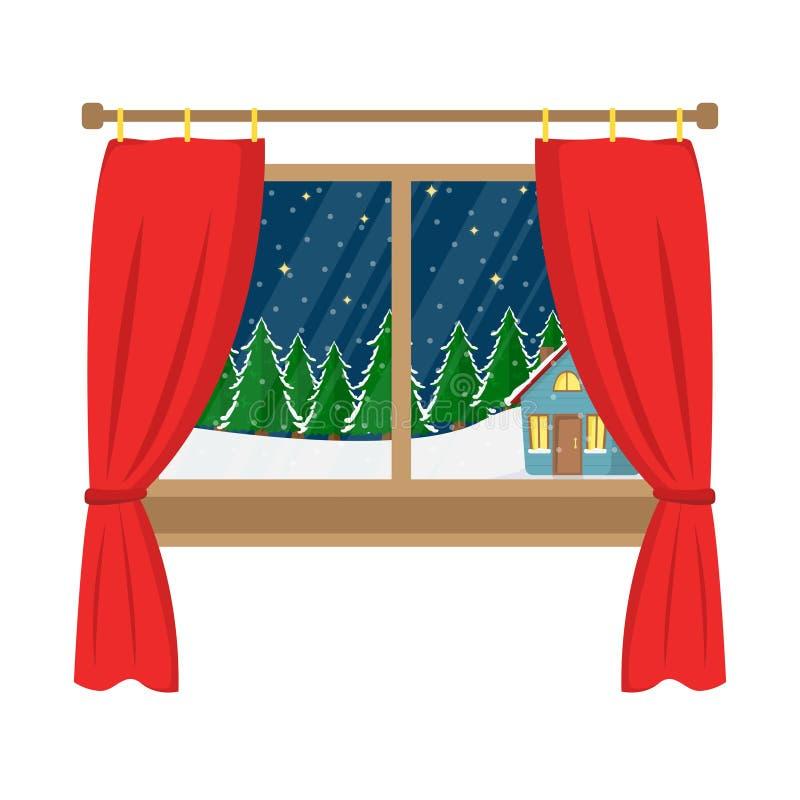 Uma janela com uma vista da casa decorada nas madeiras ilustração do vetor