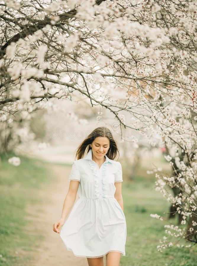 Uma jovem mulher anda entre o jardim de florescência fotos de stock