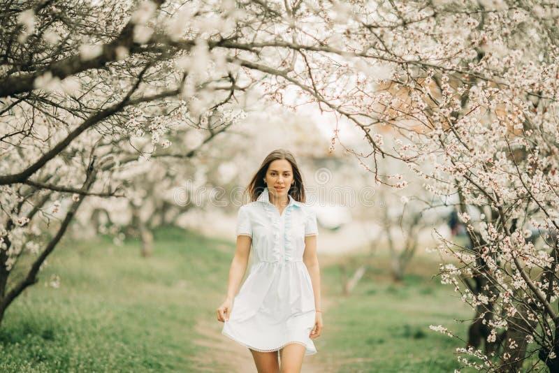 Uma jovem mulher anda entre o jardim de florescência imagens de stock royalty free