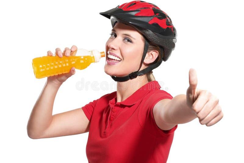 Download Jovem Mulher Com Um Capacete Da Bicicleta Imagem de Stock - Imagem de isolado, fêmea: 29846099