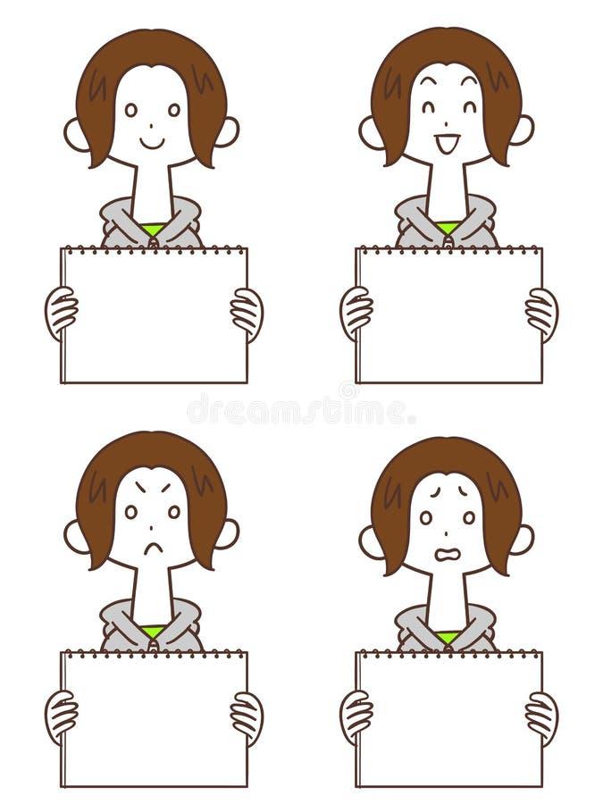 Uma jovem mulher com um Hoodie Bob curto do whiteboard ilustração royalty free