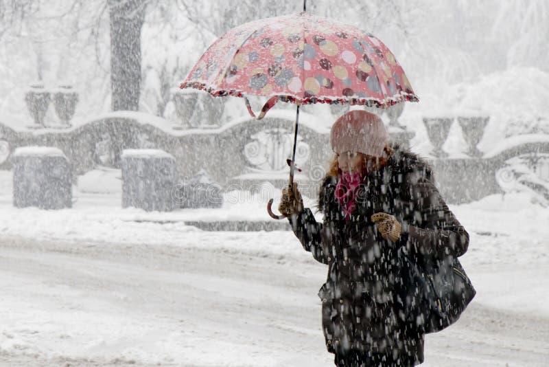 Uma jovem mulher que anda sob o guarda-chuva na queda de neve pesada na rua da cidade pelo parque imagem de stock