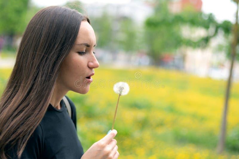 Uma jovem mulher que guarda um dente-de-leão de florescência em sua mão e que funde em uma flor imagens de stock royalty free