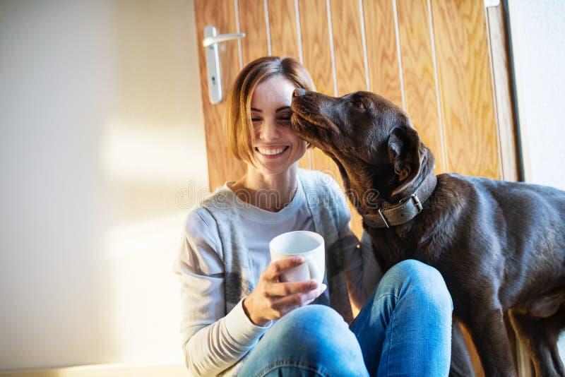 Uma jovem mulher que senta-se dentro no assoalho em casa, jogando com um cão fotografia de stock royalty free
