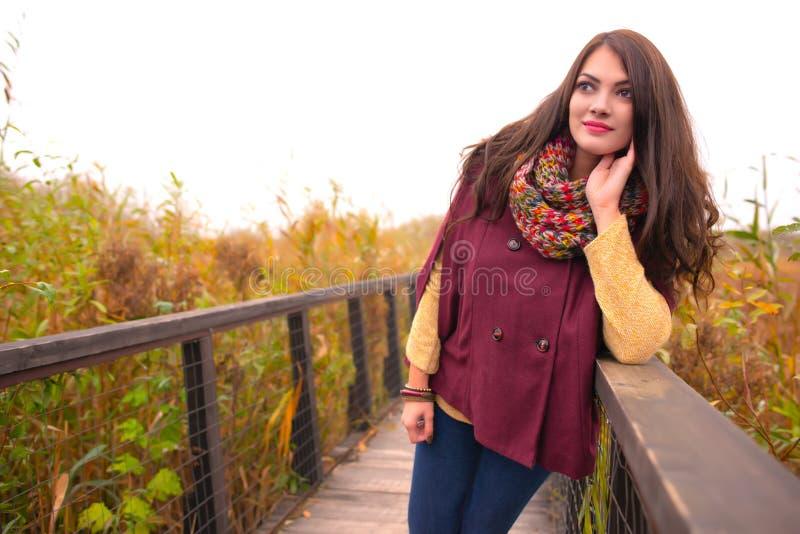 Uma jovem mulher romântica lindo com cabelo marrom longo bonito que aprecia o tempo do outono no parque local, enchido foto de stock