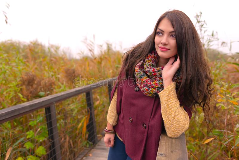 Uma jovem mulher romântica lindo com cabelo marrom longo bonito que aprecia o tempo do outono no parque local, enchido fotos de stock royalty free