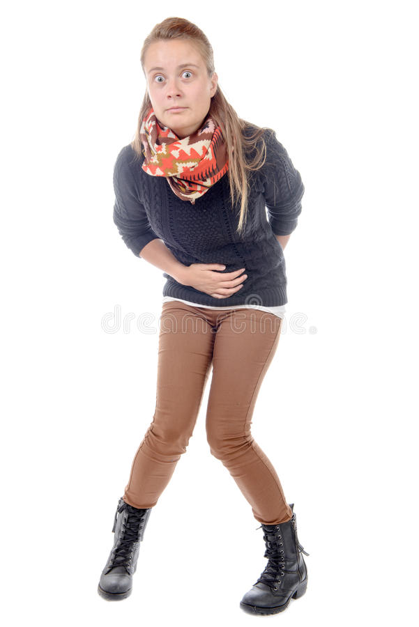 Uma jovem mulher tem a diarreia imagem de stock royalty free