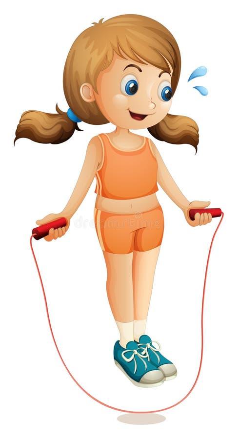 Uma jovem senhora que exercita com uma corda ilustração royalty free