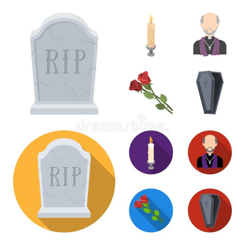 Uma lápide do granito com uma inscrição, uma vela de lamentação, um pasteur, um padre, rosas de lamentação Grupo da cerimônia fún ilustração stock