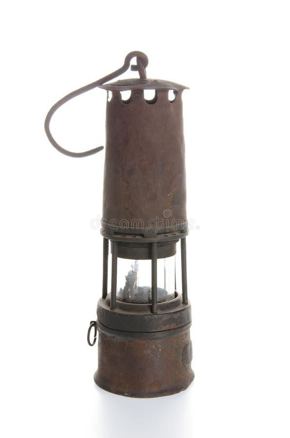 Uma lâmpada de mineiro fotografia de stock