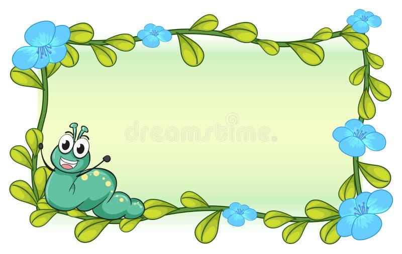 Uma lagarta e flores ilustração do vetor