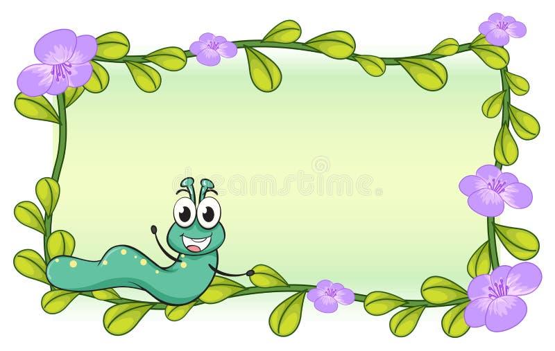 Uma lagarta e uma planta da flor ilustração stock