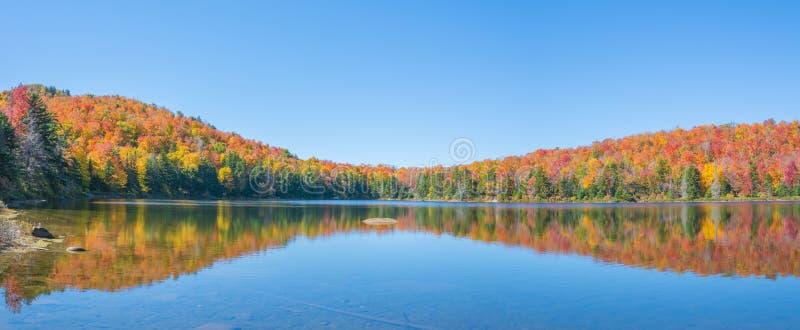 Uma lagoa encantador com folhagem de outono foto de stock