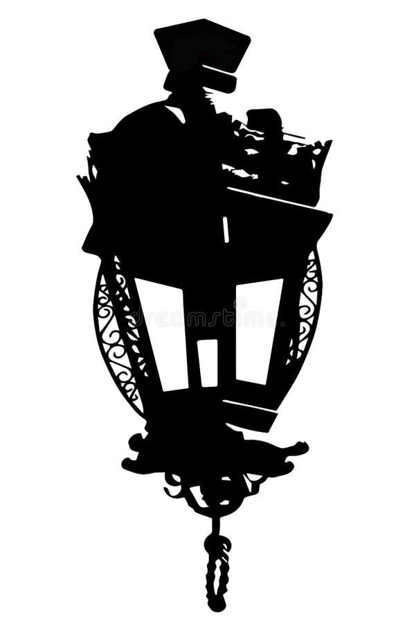 Uma lanterna antiga está em um fundo branco ilustração royalty free