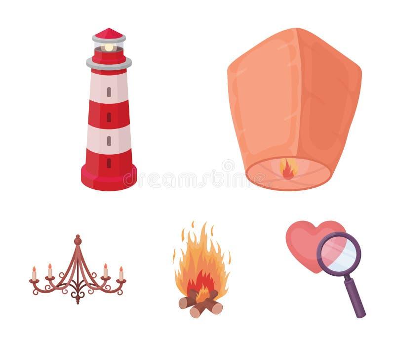 Uma lanterna leve, um farol, um fogo, um candelabro com velas Ícones ajustados da coleção da fonte luminosa no estilo dos desenho ilustração royalty free
