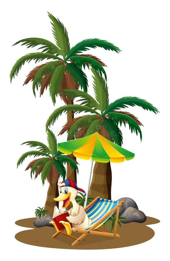 Uma leitura do pato perto das palmeiras ilustração do vetor