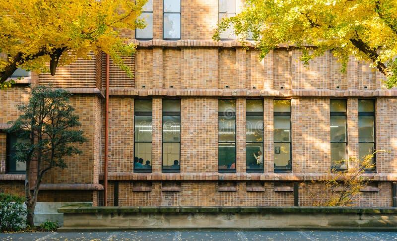 Uma leitura em uma construção na universidade do Tóquio, Japão foto de stock