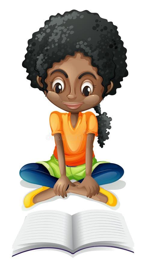Uma leitura preta da menina ilustração do vetor