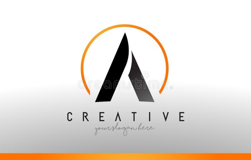 Uma letra Logo Design com cor alaranjada preta Ícone moderno fresco T ilustração do vetor