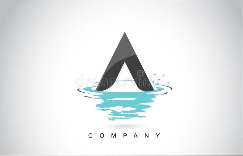 Uma letra Logo Design com reflexão das gotas das ondinhas do respingo da água ilustração stock
