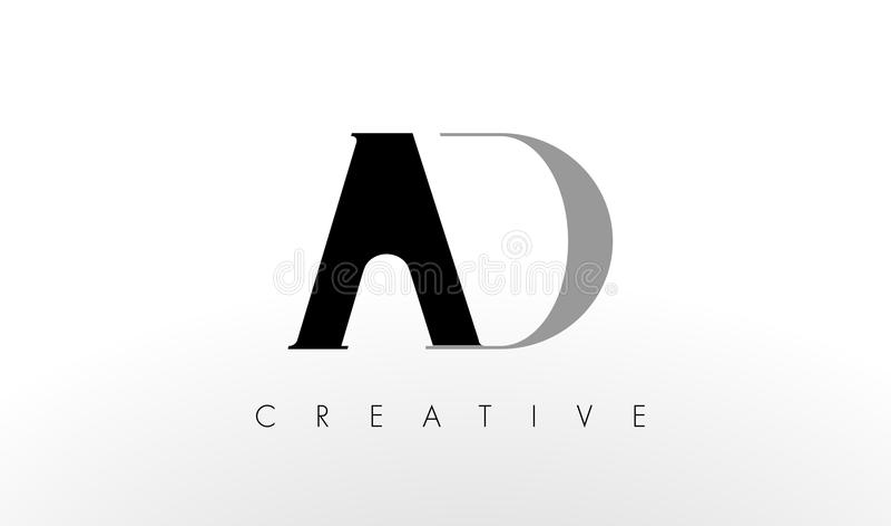 Uma letra Logo Design de D O ANÚNCIO criativo rotula o ícone ilustração stock