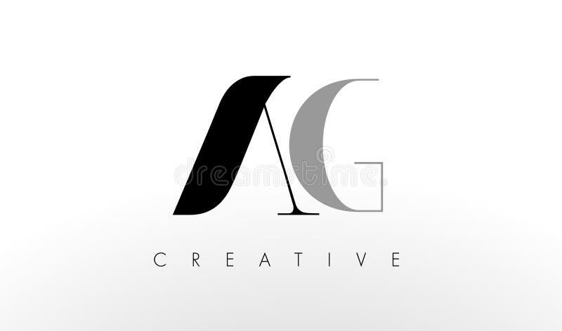 Uma letra Logo Design de G O AG criativo rotula o ícone ilustração stock