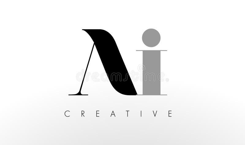Uma letra Logo Design de I O AI criativo rotula o ícone ilustração stock