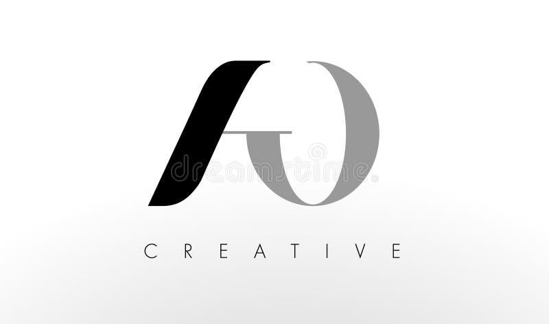 Uma letra Logo Design de O O AO criativo rotula o ícone ilustração stock