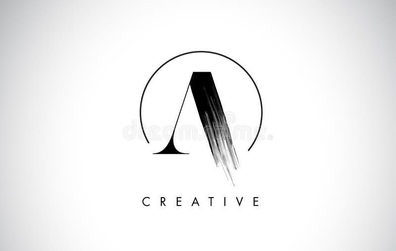 Uma letra Logo Design do curso da escova Pintura preta Logo Leters Icon ilustração do vetor