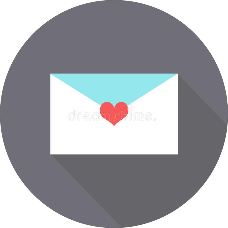 Uma letra no ícone liso do dia do ` s do Valentim no fundo cinzento com sombra imagens de stock royalty free