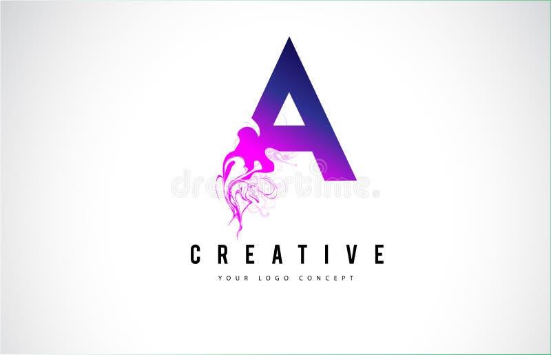 Uma letra roxa Logo Design com fluxo líquido do efeito ilustração do vetor