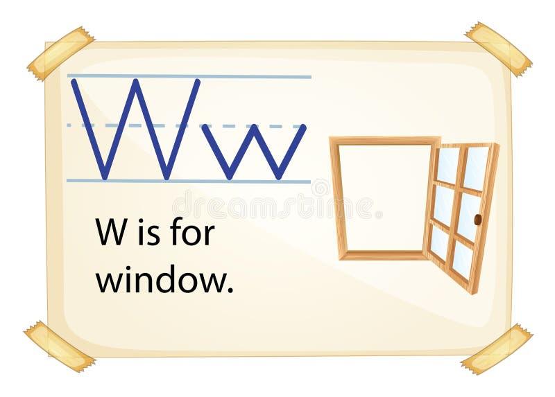Uma letra W para a janela ilustração stock