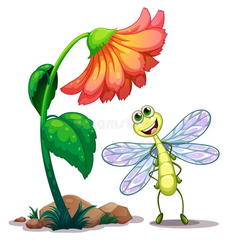 Uma libélula de sorriso abaixo da flor gigante ilustração royalty free