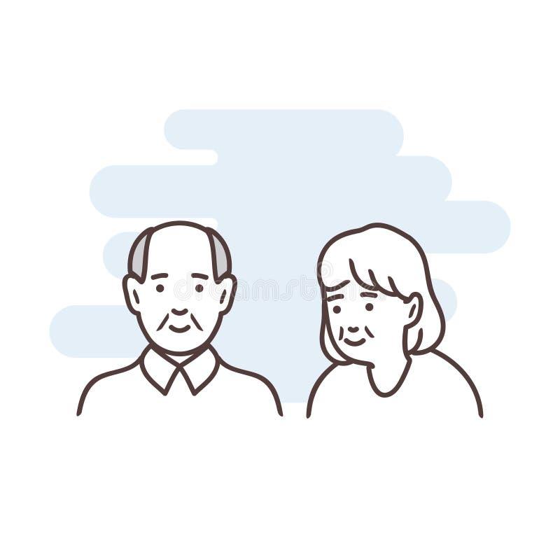 Uma linha é uma ilustração minimalistic simples de duas pessoas adultas Idade avançada ilustração do vetor