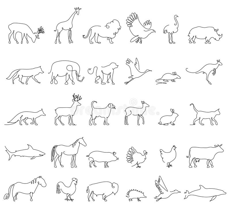 Uma linha animais ajustados, logotipos Ilustração conservada em estoque do vetor Turquia e vaca, porco e águia, girafa e cavalo,  ilustração royalty free