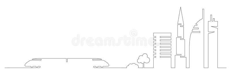 A uma linha artística lisa trem da cidade do vetor do projeto e construções da cidade, arranha-céus, árvores dá forma às silhueta ilustração stock