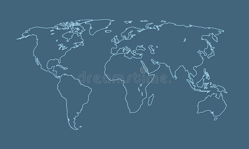 Uma linha azul fresca e simples do mapa do mundo de países e de continentes diferentes ilustração do vetor
