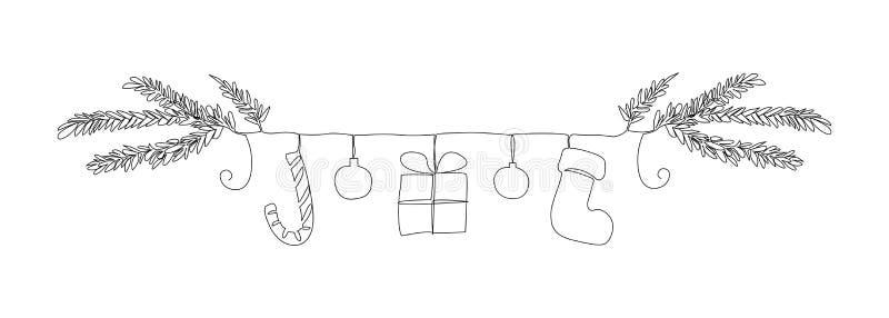 Uma linha beira dos símbolos do Natal: refeição matinal da árvore de Natal, bastão de doces, bolas, presente, peúga ilustração royalty free