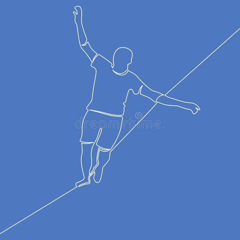 Uma linha conceito de passeio do risco da corda-bamba do homem ilustração royalty free