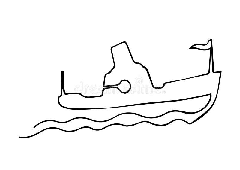 Uma linha contínua barco do navio a vapor em ondas com sinal Ilustração preto e branco do vetor Linha arte ilustração stock
