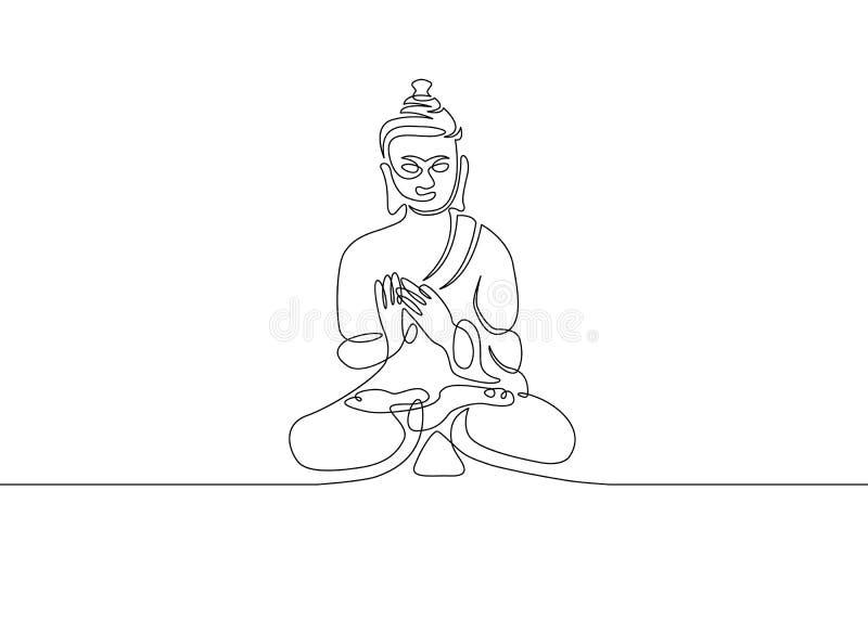 Uma linha contínua Buda tirada ilustração do vetor