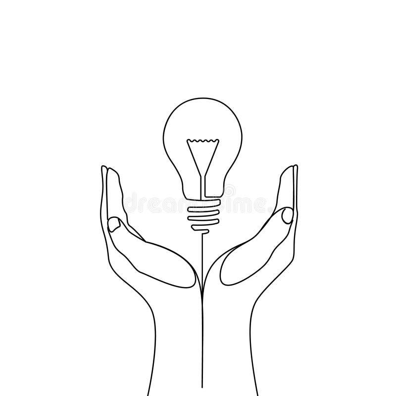 Uma linha contínua bulbo nas mãos do homem - ideia do eco ilustração stock
