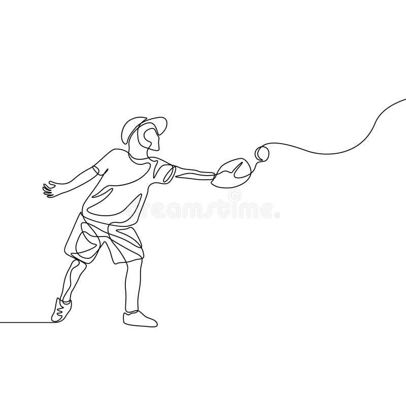 Uma linha contínua captura da criança a bola na luva, tema do basebol ilustração royalty free