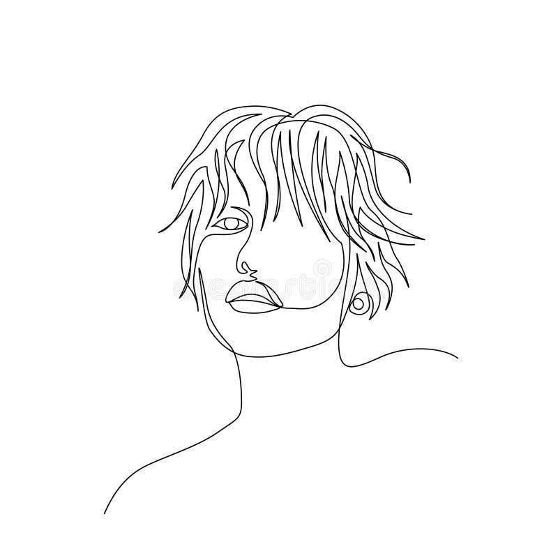 Uma linha contínua cara bonita da mulher com cabelo ondulado curto Arte ilustração do vetor