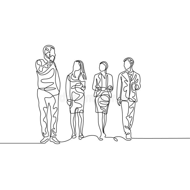 Uma linha contínua equipe de businessmans com o chefe que discute o trabalho ilustração royalty free