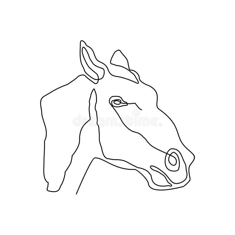 Uma linha contínua estilo minimalista do minimalismo da ilustração do vetor do projeto da cabeça de cavalo ilustração do vetor