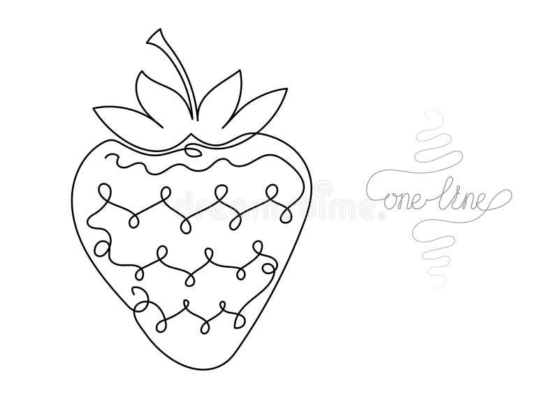Uma linha contínua fruto da morango do desenho da arte ilustração royalty free