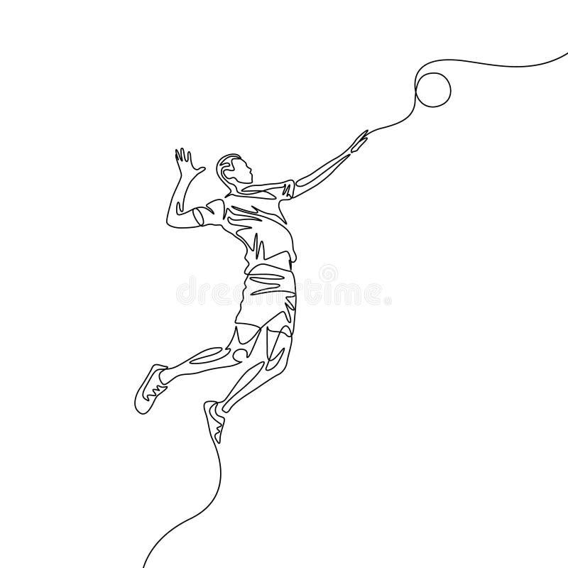 A uma linha contínua jogador de voleibol salta para jogar a bola ilustração stock